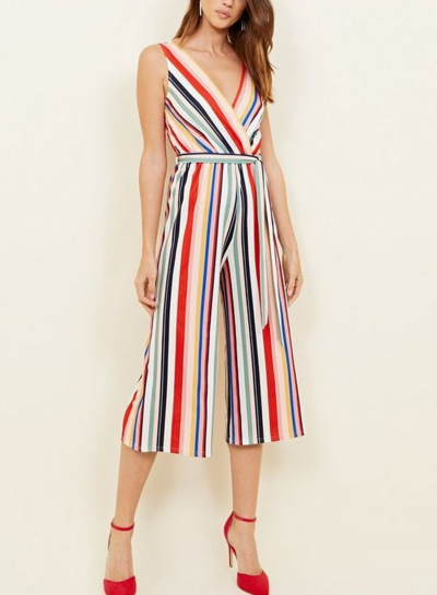 Multi Rainbow Stripes Sleeveless V Neck Wide Leg Slim Jumpsuit With Belt