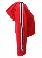 Red Casual Striped Long Sleeve Crop Top Loose Short Hoodie With Drawstring