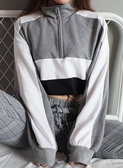 Grey Women's Hoodies Color Block Zipper Crop Long Sleeve Sweatshirt STYLESIMO.com