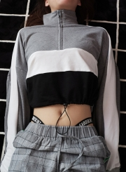 Grey Women's Hoodies Color Block Zipper Crop Long Sleeve Sweatshirt