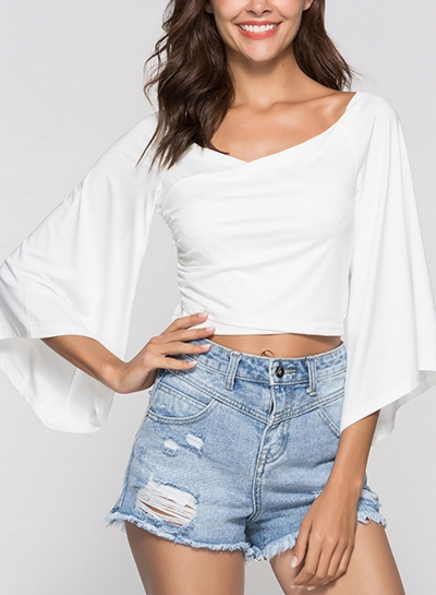 White Women's Off Shoulder Flare Sleeve Crop Top Loose Solid Color Tee