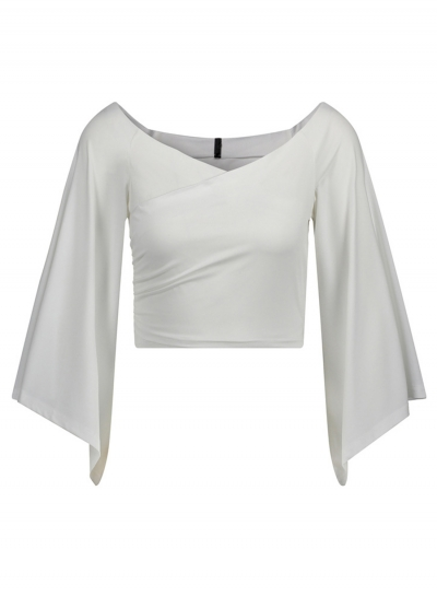896e970d7d3 White Women's Off Shoulder Flare Sleeve Crop Top Loose Solid Color Tee -  STYLESIMO.com