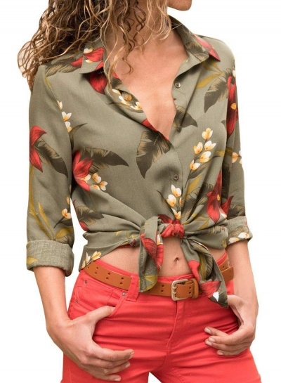 Army Green Women's Floral Print Long Sleeve Bow Tie Slim Button Down Shirt