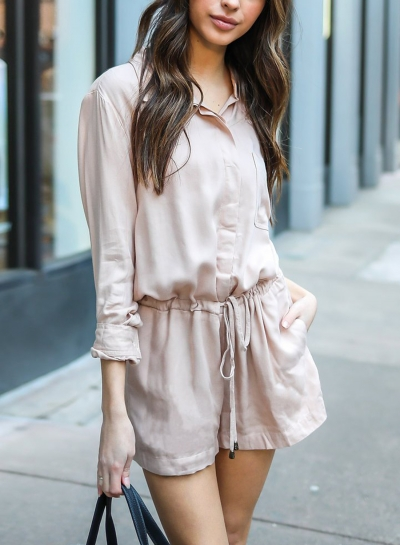 Pink Casual Long Sleeve Turn-Down Collar Wide Leg Drawstring Romper