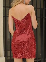 0e485ef91c ... Summer Sexy Sequin Spaghetti Strap V Neck Backless Mini Dress ...