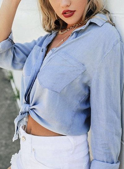 Blue High Low Loose Button Down Shirt