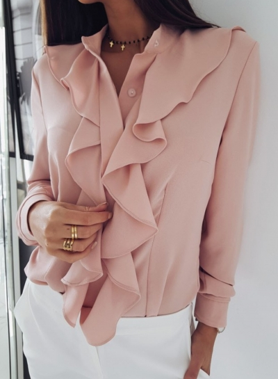 Pink Elegant Long Sleeve Stand Neck Slim Ruffle Button Down Shirt