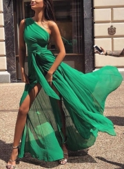 Green One Shoulder High Slit Swing Maxi Prom Dress With Belt
