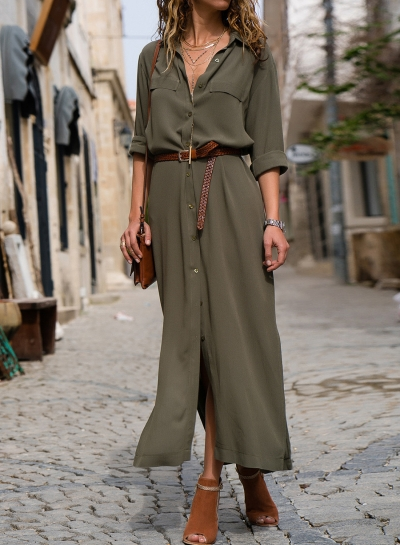 Army Green Casual Slit Button Down Maxi Shirt Dress STYLESIMO.com