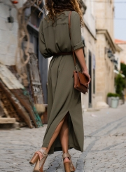 Army Green Casual Slit Button Down Maxi Shirt Dress