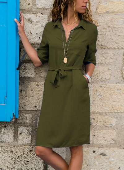 Turn-Down Collar Half Sleeve Waist Tie Button Down Dress With Pockets
