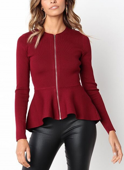 Burgundy Casual Round Neck Long Sleeve Full Zip Slim Blouse