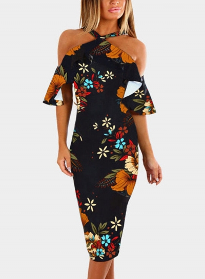 Fashion Slim Floral Printed Short Sleeve Off The Shoulder Dress