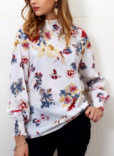 White Floral Print High Neck Long Sleeve Loose Pullover Blouse