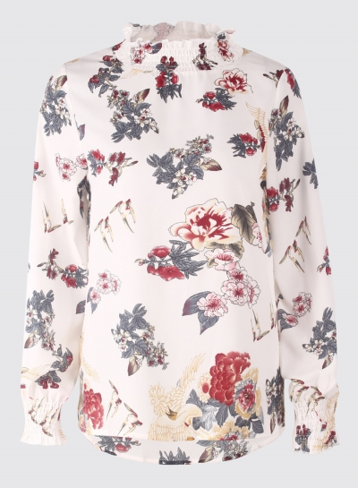 126df4c7a5c490 White Floral Print High Neck Long Sleeve Loose Pullover Blouse -  STYLESIMO.com