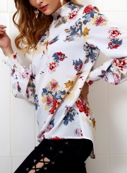c51ba669264b0 ... White Floral Print High Neck Long Sleeve Loose Pullover Blouse ...