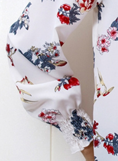 20785990be397 White Floral Print High Neck Long Sleeve Loose Pullover Blouse -  STYLESIMO.com