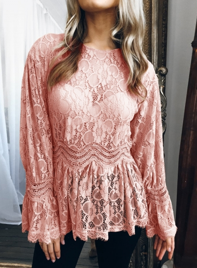 Pink Sexy Long Sleeve Round Neck Lace Hollow Out Blouse