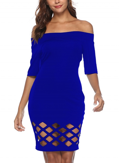 Blue Summer Off Shoulder Half Sleeve Hollow Out Slim Fit Bodycon Mini Dress