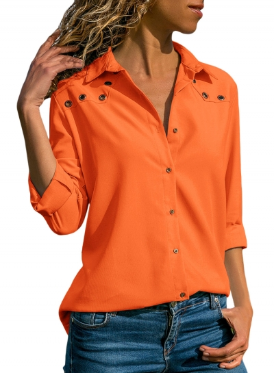 Casual Turn-Down Collar Long Sleeve Loose Solid Color Button Down Shirt