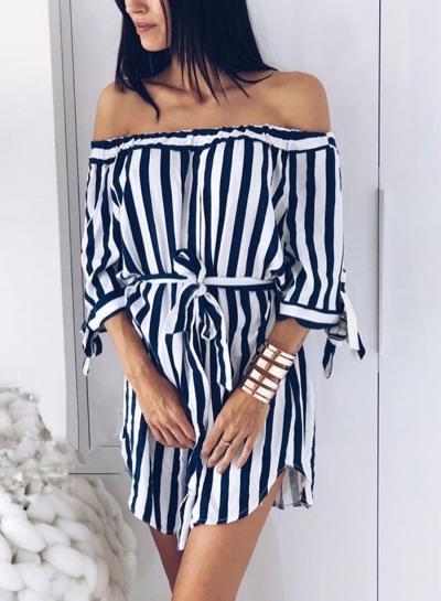 Navy Summer Striped Off Shoulder Half Sleeve Mini Dress