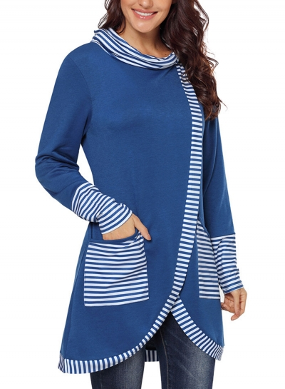 Blue Casual Striped Cowl Neck Long Sleeve Irregular Sweatshirt With Pockets STYLESIMO.com