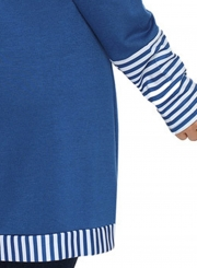 Blue Casual Striped Cowl Neck Long Sleeve Irregular Sweatshirt With Pockets