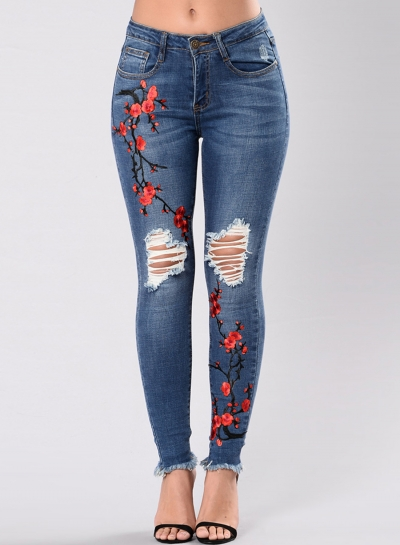 Casual Ripped Rose Embroidered Butt Lift Slim Fit Skinny Jeans