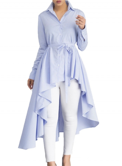Light Blue Striped Long Sleeve High Low Loose Button Down Shirt With Belt