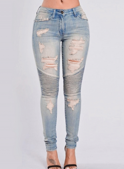 Ripped Distressed High Waist Boyfriend Skinny Jeans With Pockets