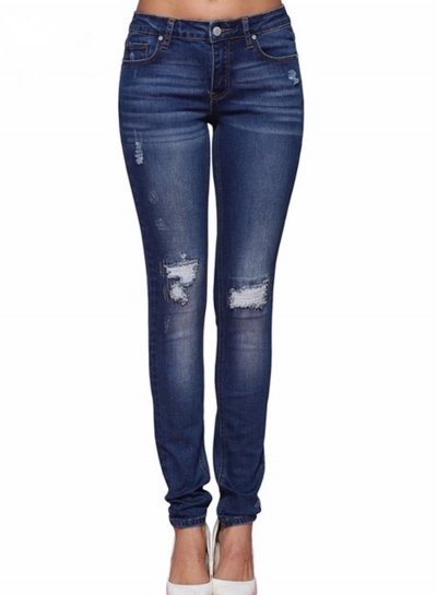 Destroyed Ripped Distressed Slim Fit Stretchy Skinny Jeans