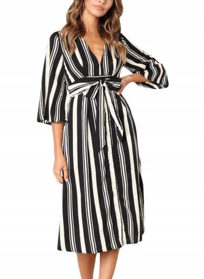 Black Summer Striped V Neck Half Sleeve High Waist Midi Dress With Belt