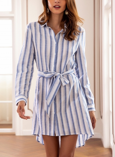Light Blue Casual Striped Long Sleeve High Low Button Down Mini Dress