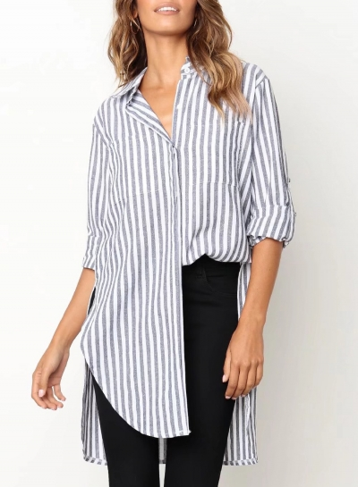 Black Casual Striped Long Sleeve Turn-Down Collar High Low Button Down Shirt