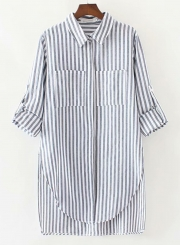 c221d9282 ... Black Casual Striped Long Sleeve Turn-Down Collar High Low Button Down  Shirt ...