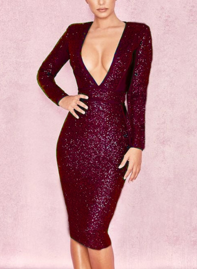 Sexy Deep V Neck Long Sleeve Sequin Solid Color Bodycon Cocktail Dress