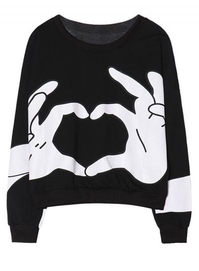 Black Women's Hand Printed Long Sleeve Round Neck Loose Pullover Sweatshirt STYLESIMO.com