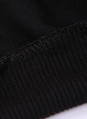 Black Women's Hand Printed Long Sleeve Round Neck Loose Pullover Sweatshirt