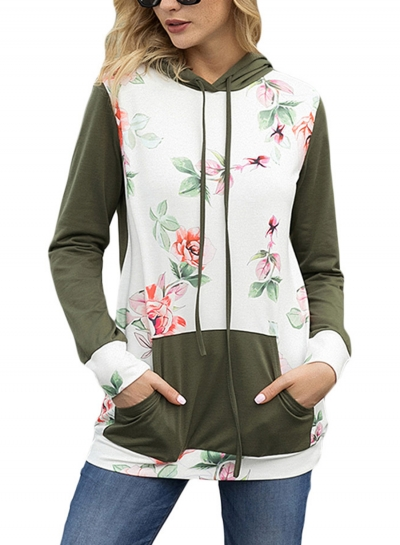 Green Casual Floral Print Long Sleeve Color Block Loose Hoodie With Pocket STYLESIMO.com