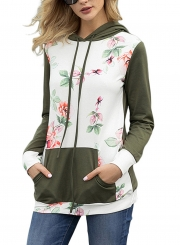 Green Casual Floral Print Long Sleeve Color Block Loose Hoodie With Pocket