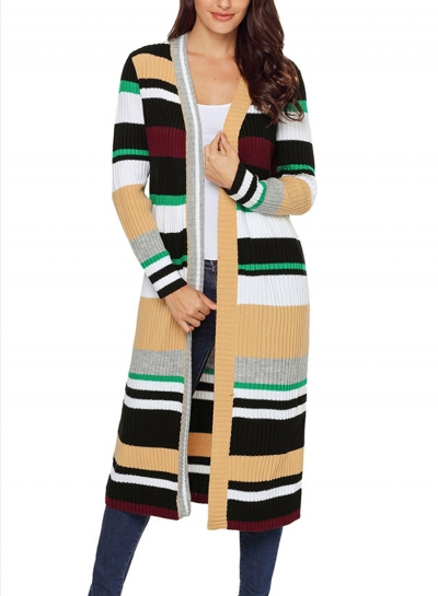 Khaki Casual Striped Long Sleeve Open Front Slim Long Cardigan