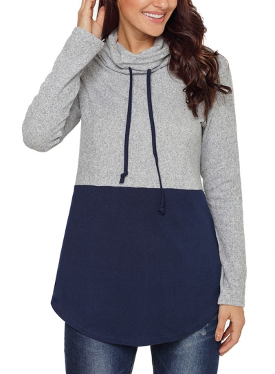 Deep Blue Women's High Neck Long Sleeve Color Block Loose Pullover Sweatshirt