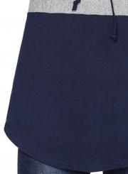 Deep Blue Women's High Neck Long Sleeve Color Block Loose Pullover Sweatshirt