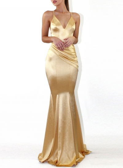 Gold Fashion Sexy Solid Spaghetti Strap V Neck Backless Evening Party Dress