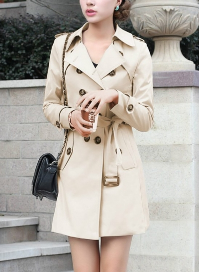 Khaki Casual Turn-Down Collar Long Sleeve Slim Fit Coat With Belt