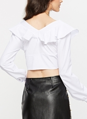 3a1a25bae18c97 ... White Sexy V Neck Long Sleeve Ruffle Crop Top Slim Solid Color Blouse  ...