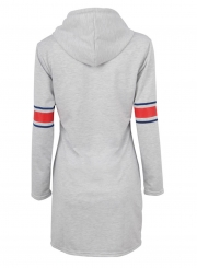 Grey Women's Striped Long Sleeve Slim Long Pullover Hoodie With Pocket
