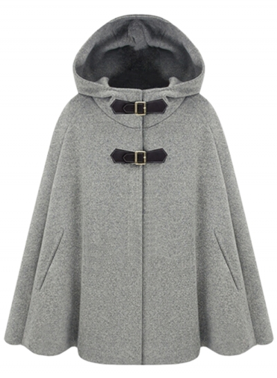 Women's Winter Wool Blend Hooded Pockets Cape Cloak Coat