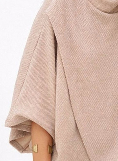 Fashion High Neck 3/4 Batwing Sleeve Loose Fit Asymmetrical Top stylesimo.com