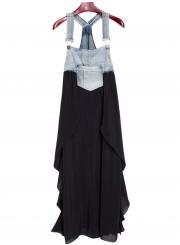 Women's Square Neck Summer Denim Chiffon Midi Overalls Dress